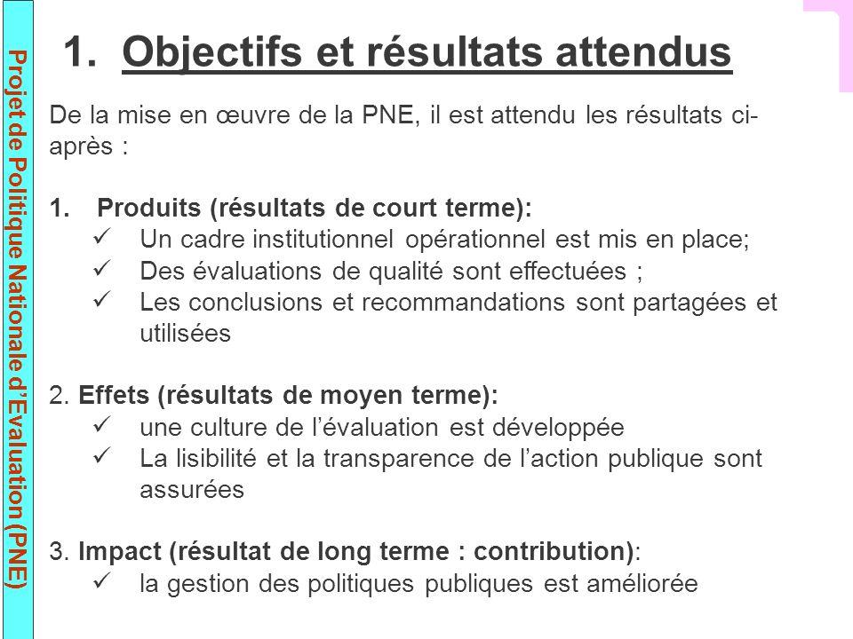 Projet de Politique Nationale dEvaluation (PNE) De la mise en œuvre de la PNE, il est attendu les résultats ci- après : 1.Produits (résultats de court terme): Un cadre institutionnel opérationnel est mis en place; Des évaluations de qualité sont effectuées ; Les conclusions et recommandations sont partagées et utilisées 2.