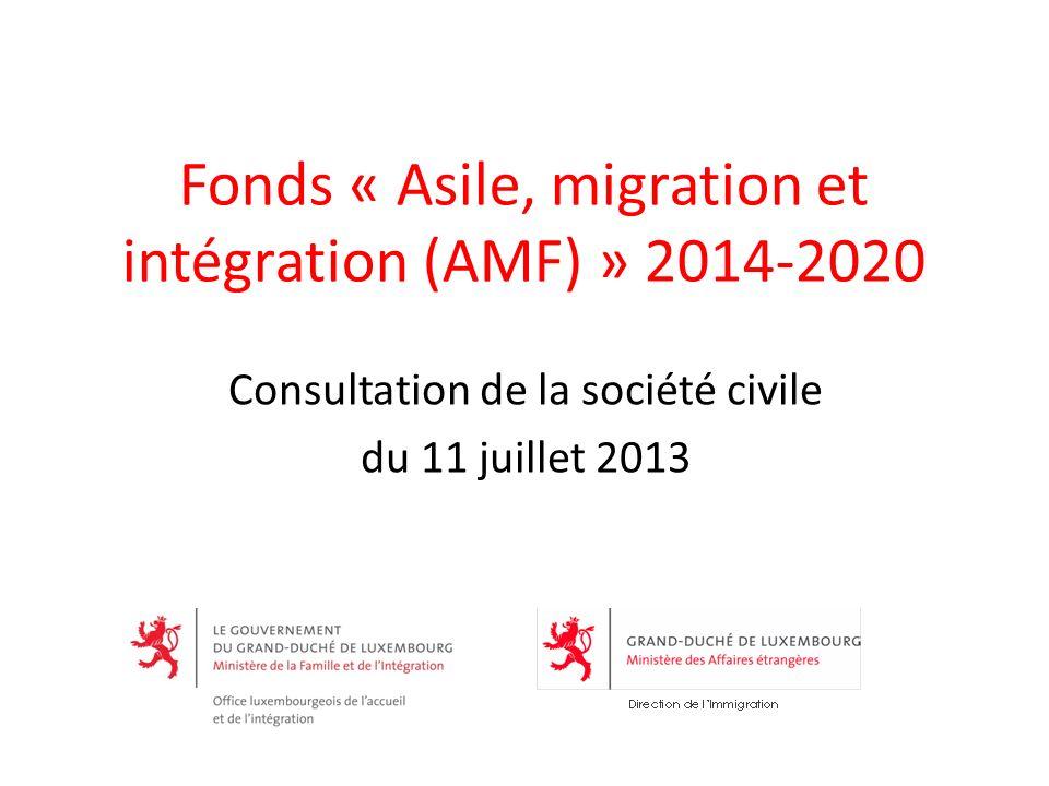 Fonds « Asile, migration et intégration (AMF) » 2014-2020 Consultation de la société civile du 11 juillet 2013