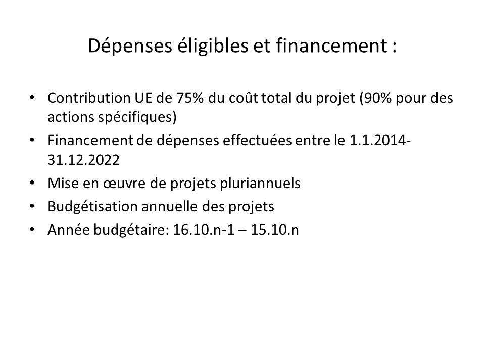 Dépenses éligibles et financement : Contribution UE de 75% du coût total du projet (90% pour des actions spécifiques) Financement de dépenses effectuées entre le 1.1.2014- 31.12.2022 Mise en œuvre de projets pluriannuels Budgétisation annuelle des projets Année budgétaire: 16.10.n-1 – 15.10.n