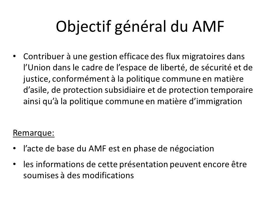 Objectif général du AMF Contribuer à une gestion efficace des flux migratoires dans lUnion dans le cadre de lespace de liberté, de sécurité et de justice, conformément à la politique commune en matière dasile, de protection subsidiaire et de protection temporaire ainsi quà la politique commune en matière dimmigration Remarque: lacte de base du AMF est en phase de négociation les informations de cette présentation peuvent encore être soumises à des modifications