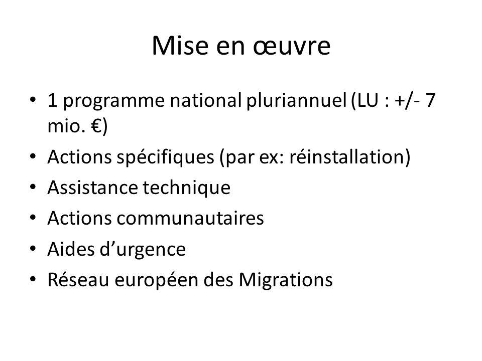 Mise en œuvre 1 programme national pluriannuel (LU : +/- 7 mio. ) Actions spécifiques (par ex: réinstallation) Assistance technique Actions communauta