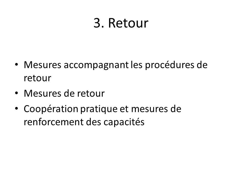 3. Retour Mesures accompagnant les procédures de retour Mesures de retour Coopération pratique et mesures de renforcement des capacités