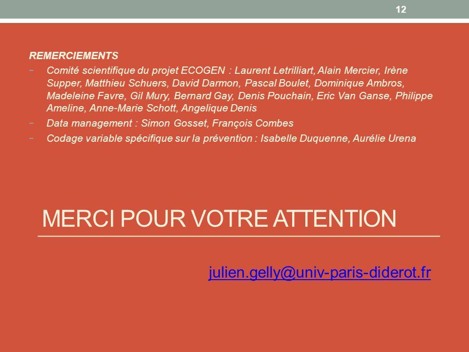 MERCI POUR VOTRE ATTENTION julien.gelly@univ-paris-diderot.fr 12 REMERCIEMENTS Comité scientifique du projet ECOGEN : Laurent Letrilliart, Alain Merci