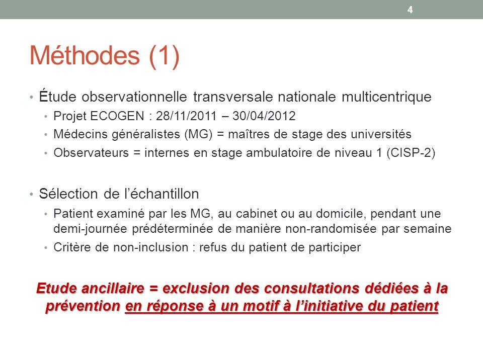 Méthodes (1) Étude observationnelle transversale nationale multicentrique Projet ECOGEN : 28/11/2011 – 30/04/2012 Médecins généralistes (MG) = maîtres