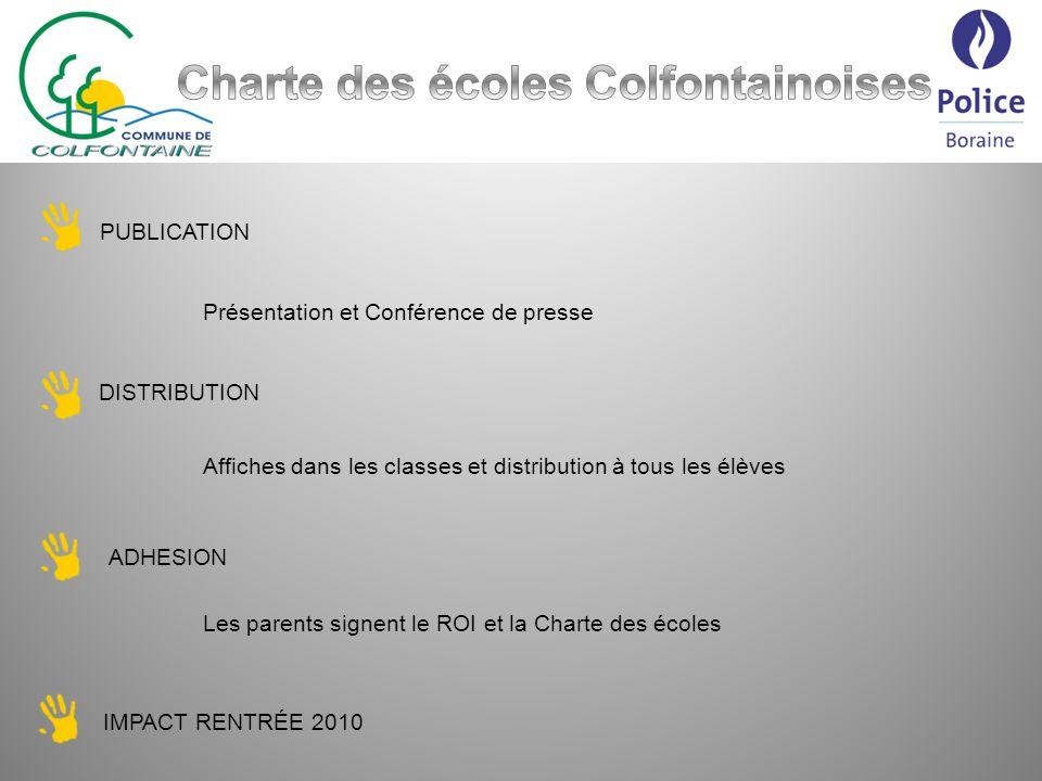 PUBLICATION Présentation et Conférence de presse DISTRIBUTION Affiches dans les classes et distribution à tous les élèves ADHESION Les parents signent le ROI et la Charte des écoles IMPACT RENTRÉE 2010