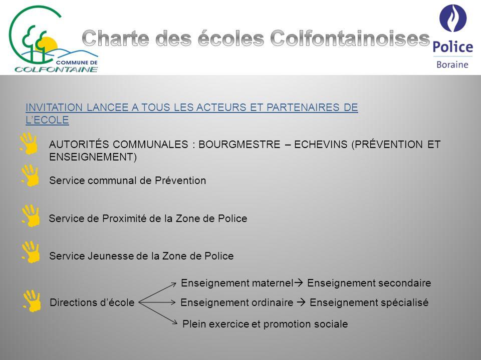 PREMIER POINT POSITIF : Réponse favorable, rapide et unanime Présence des directions décole et dun représentant de léquipe éducative TOUS RESEAUX CONFONDUS 4 RESEAUX dENSEIGNEMENT 8 pouvoirs organisateurs (FEDERATION WALLONIE BRUXELLES, PROVINCE DE HAINAUT, COMMUNE DE COLFONTAINE et 4 ASBL LIBRES CONFESSIONNELLES (CATHOLIQUE ET PROTESTANTE)