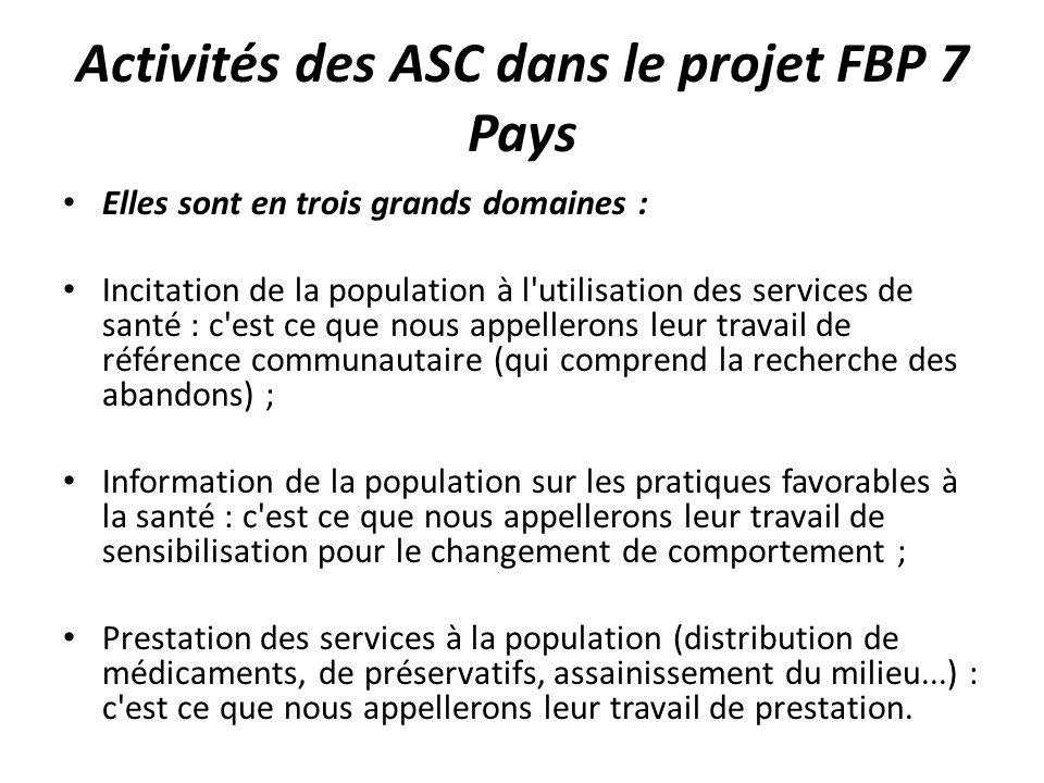 Activités des ASC dans le projet FBP 7 Pays Elles sont en trois grands domaines : Incitation de la population à l'utilisation des services de santé :