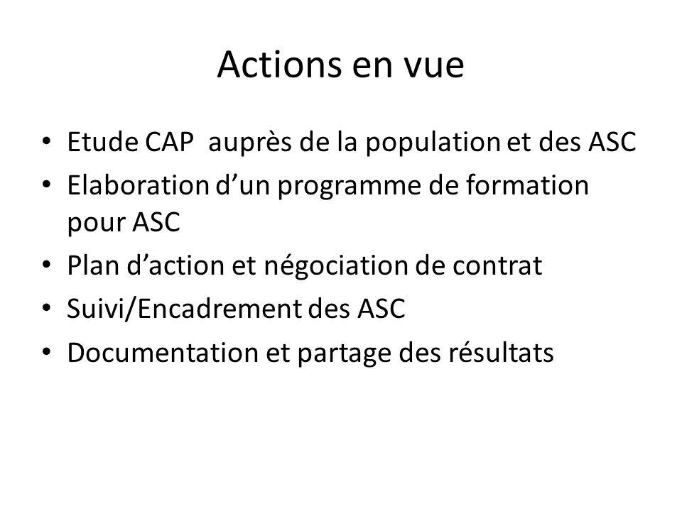 Actions en vue Etude CAP auprès de la population et des ASC Elaboration dun programme de formation pour ASC Plan daction et négociation de contrat Suivi/Encadrement des ASC Documentation et partage des résultats