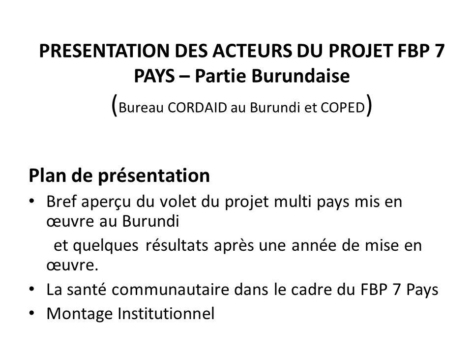 PRESENTATION DES ACTEURS DU PROJET FBP 7 PAYS – Partie Burundaise ( Bureau CORDAID au Burundi et COPED ) Plan de présentation Bref aperçu du volet du projet multi pays mis en œuvre au Burundi et quelques résultats après une année de mise en œuvre.