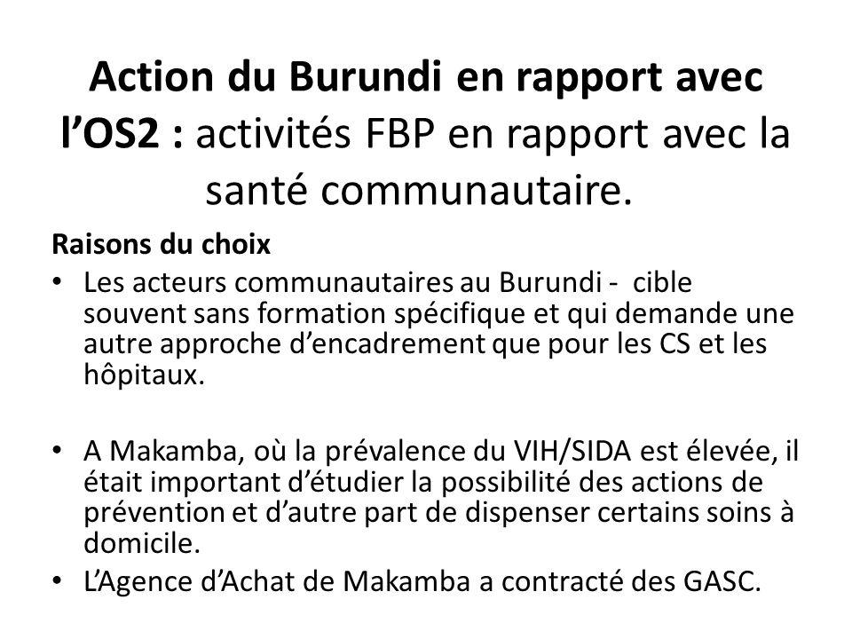 Action du Burundi en rapport avec lOS2 : activités FBP en rapport avec la santé communautaire. Raisons du choix Les acteurs communautaires au Burundi