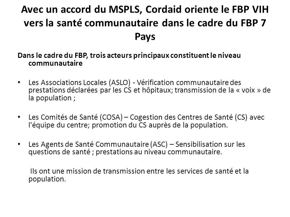 Avec un accord du MSPLS, Cordaid oriente le FBP VIH vers la santé communautaire dans le cadre du FBP 7 Pays Dans le cadre du FBP, trois acteurs principaux constituent le niveau communautaire Les Associations Locales (ASLO) - Vérification communautaire des prestations déclarées par les CS et hôpitaux; transmission de la « voix » de la population ; Les Comités de Santé (COSA) – Cogestion des Centres de Santé (CS) avec l équipe du centre; promotion du CS auprès de la population.