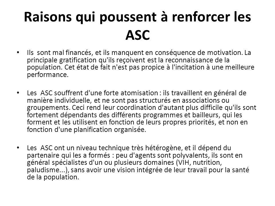 Raisons qui poussent à renforcer les ASC Ils sont mal financés, et ils manquent en conséquence de motivation.