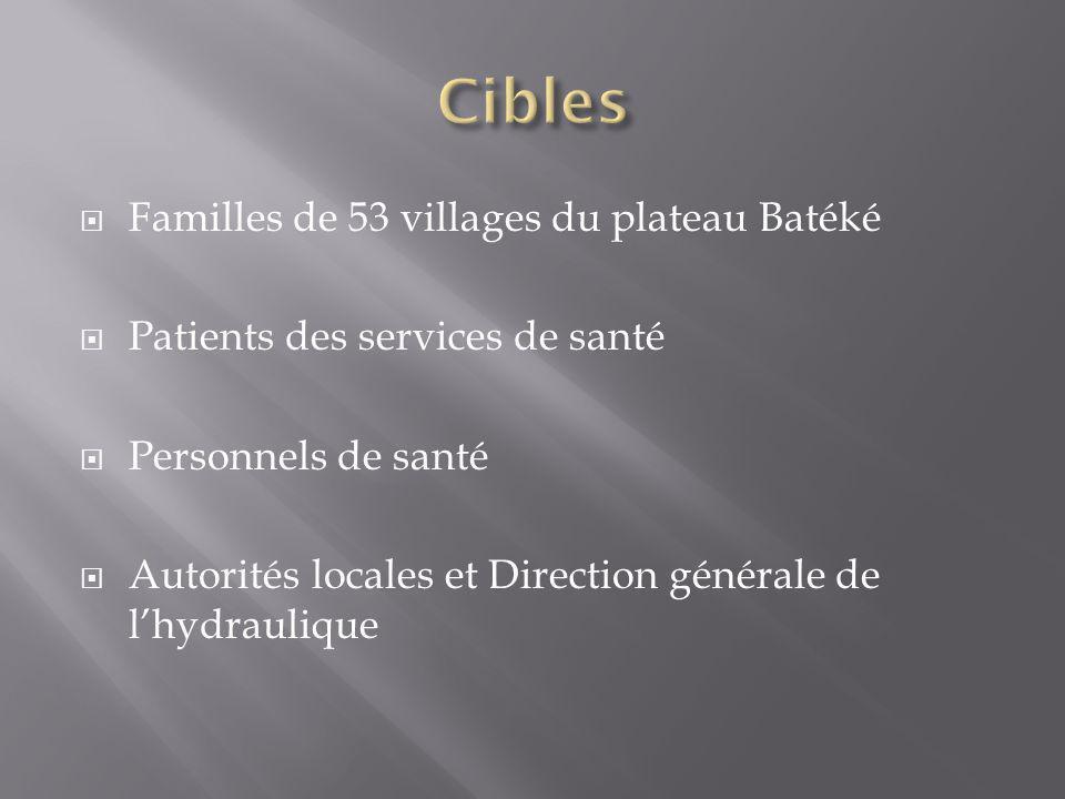 Familles de 53 villages du plateau Batéké Patients des services de santé Personnels de santé Autorités locales et Direction générale de lhydraulique