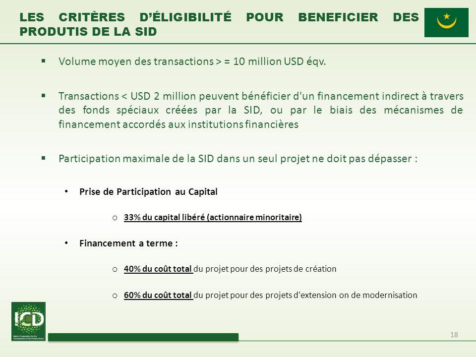 18 Volume moyen des transactions > = 10 million USD éqv. Transactions < USD 2 million peuvent bénéficier d'un financement indirect à travers des fonds