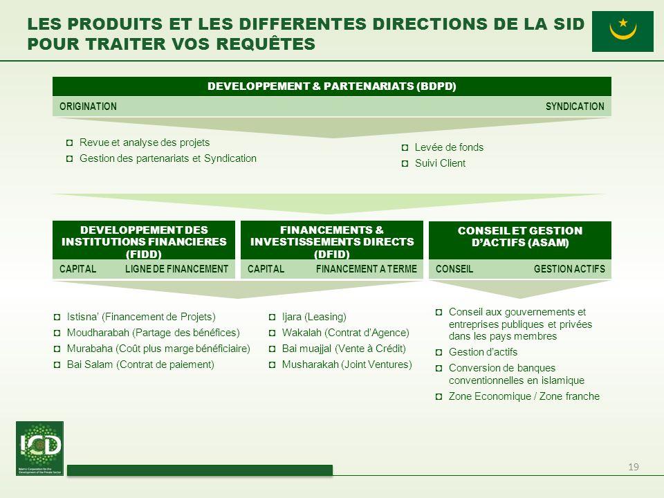 19 LES PRODUITS ET LES DIFFERENTES DIRECTIONS DE LA SID POUR TRAITER VOS REQUÊTES Conseil aux gouvernements et entreprises publiques et privées dans l