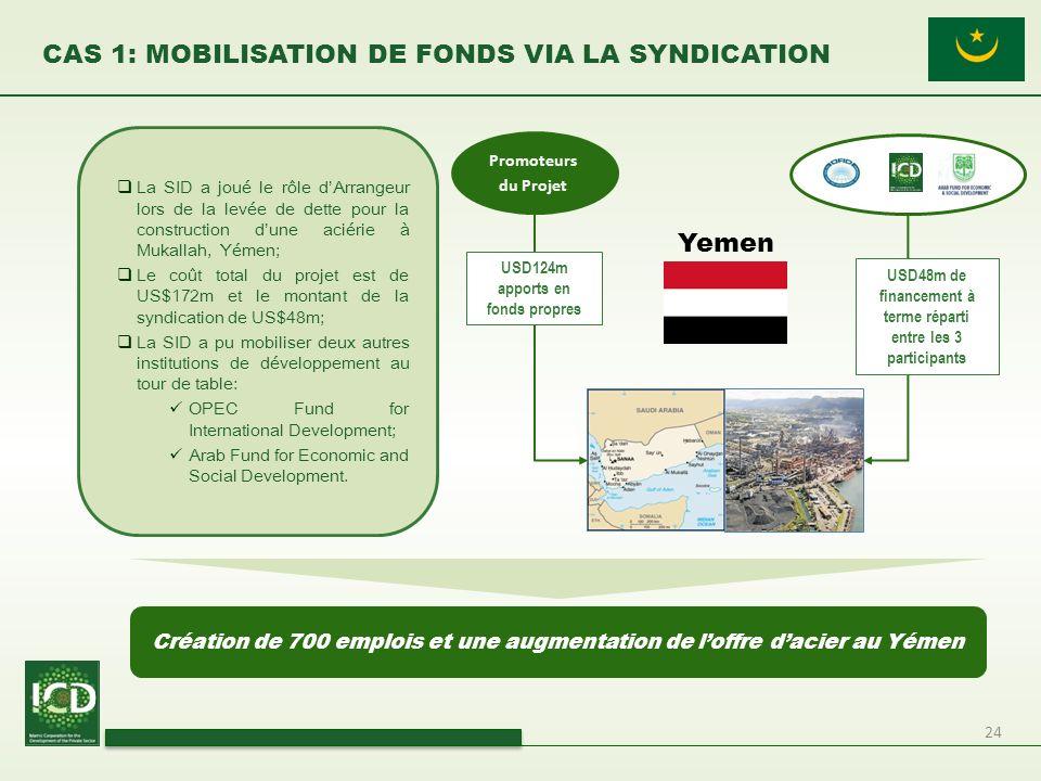 24 CAS 1: MOBILISATION DE FONDS VIA LA SYNDICATION La SID a joué le rôle dArrangeur lors de la levée de dette pour la construction dune aciérie à Muka