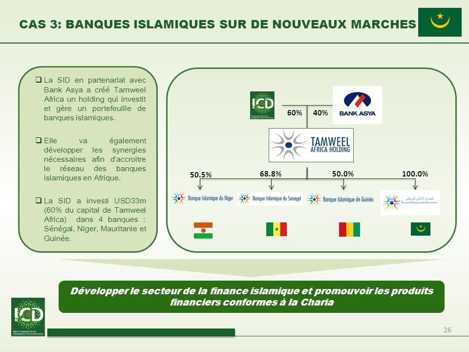 26 CAS 3: BANQUES ISLAMIQUES SUR DE NOUVEAUX MARCHES La SID en partenariat avec Bank Asya a créé Tamweel Africa un holding qui investit et gère un por