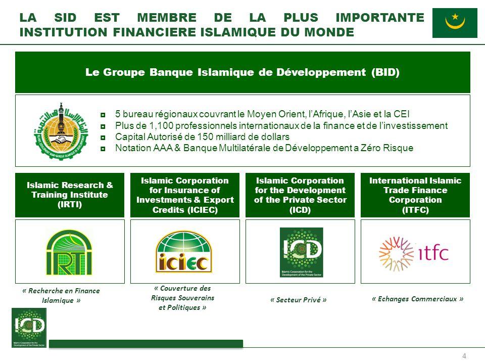 4 LA SID EST MEMBRE DE LA PLUS IMPORTANTE INSTITUTION FINANCIERE ISLAMIQUE DU MONDE 5 bureau régionaux couvrant le Moyen Orient, lAfrique, lAsie et la
