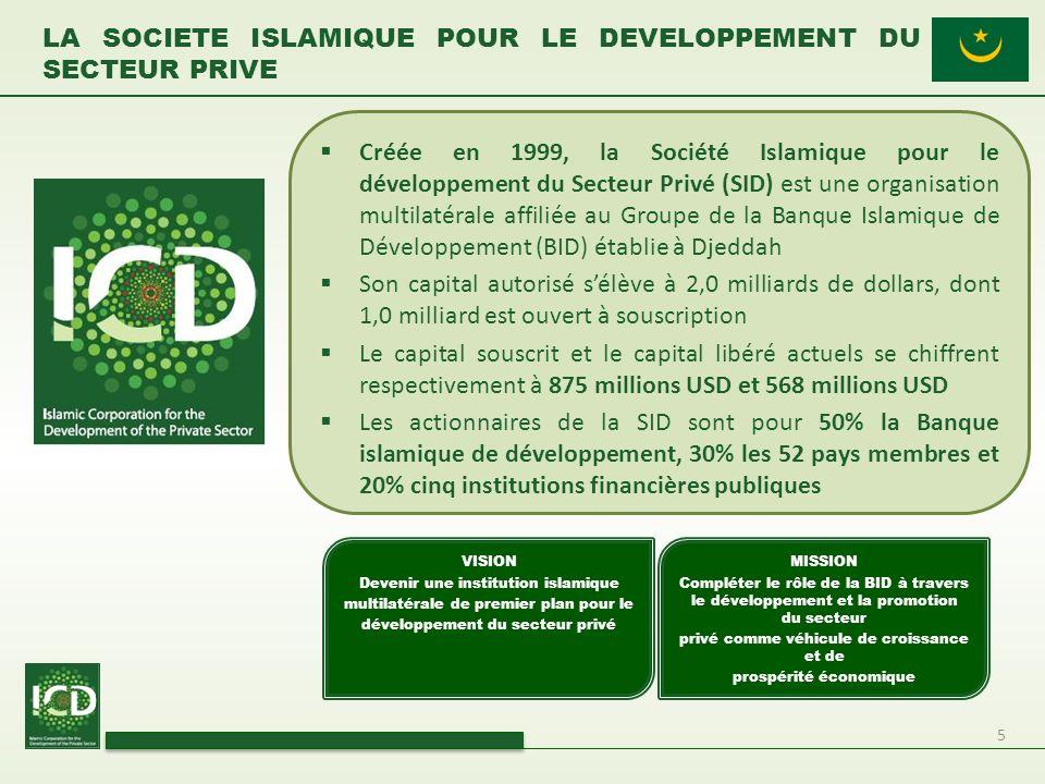 5 Créée en 1999, la Société Islamique pour le développement du Secteur Privé (SID) est une organisation multilatérale affiliée au Groupe de la Banque