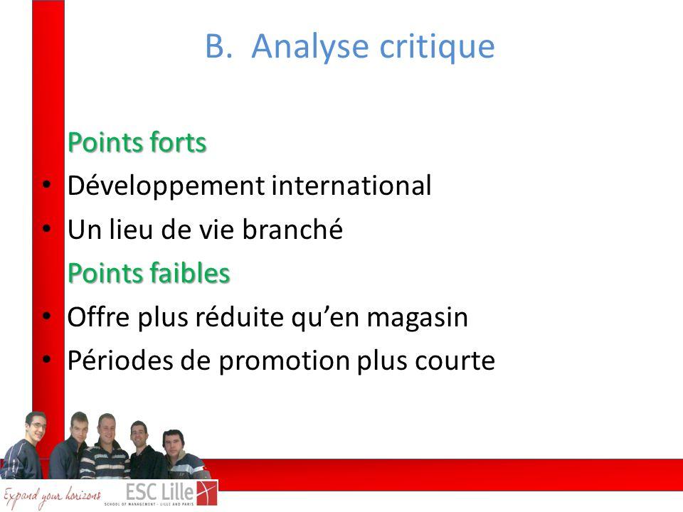 Points forts Développement international Un lieu de vie branché Points faibles Offre plus réduite quen magasin Périodes de promotion plus courte B.