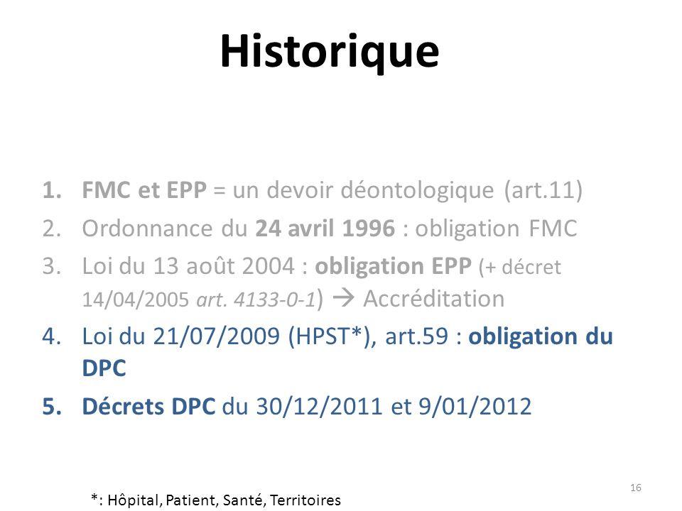 16 Historique 1. FMC et EPP = un devoir déontologique (art.11) 2.Ordonnance du 24 avril 1996 : obligation FMC 3.Loi du 13 août 2004 : obligation EPP (