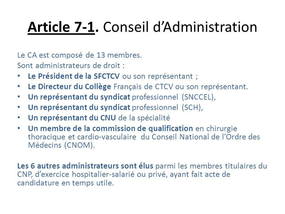 Article 7-1. Conseil dAdministration Le CA est composé de 13 membres. Sont administrateurs de droit : Le Président de la SFCTCV ou son représentant ;