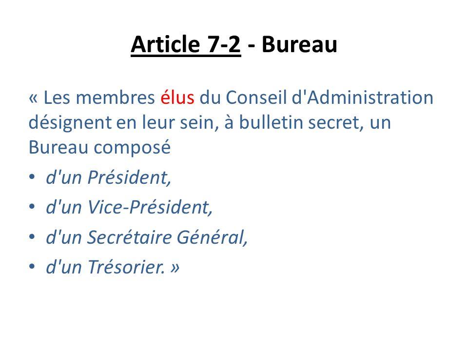 Article 7-2 - Bureau « Les membres élus du Conseil d'Administration désignent en leur sein, à bulletin secret, un Bureau composé d'un Président, d'un