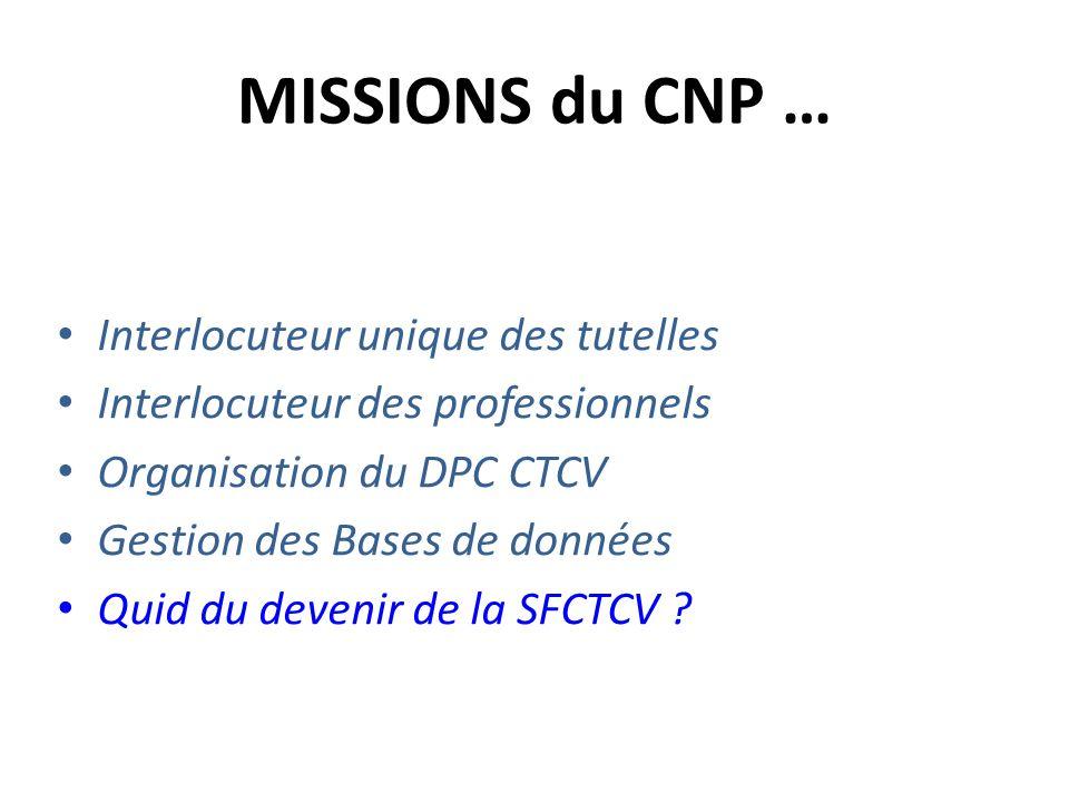 MISSIONS du CNP … Interlocuteur unique des tutelles Interlocuteur des professionnels Organisation du DPC CTCV Gestion des Bases de données Quid du dev