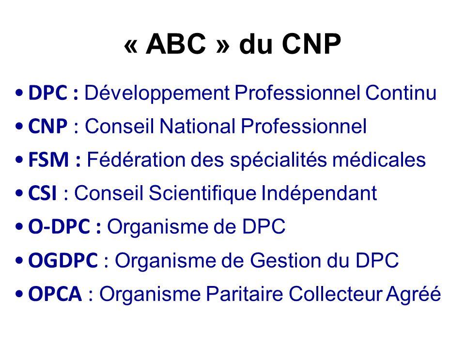 « ABC » du CNP DPC : Développement Professionnel Continu CNP : Conseil National Professionnel FSM : Fédération des spécialités médicales CSI : Conseil