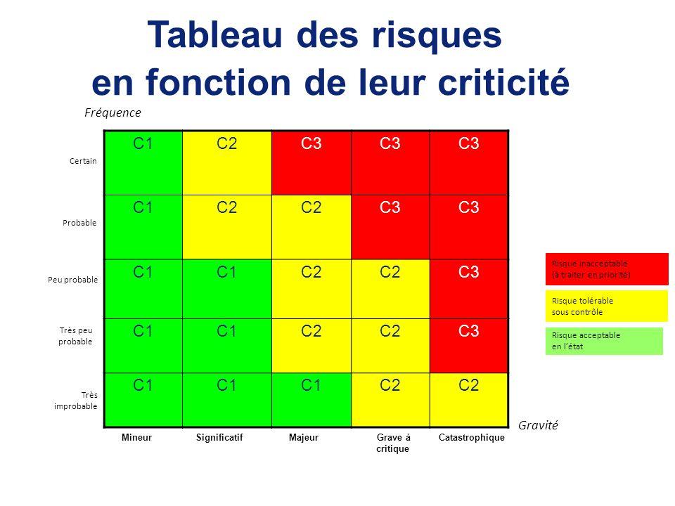 C1C2C3 C1C2 C3 C1 C2 C3 C1 C2 C3 C1 C2 Fréquence Risque inacceptable (à traiter en priorité) Risque acceptable en létat Tableau des risques en fonctio