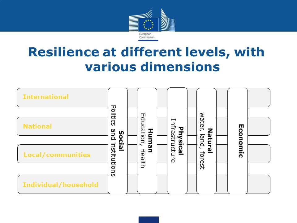 An individual, a household, a community a larger human structure is more resilient when it is able to: Resilience - Definition better resist to stress and shocks bounce back rapidly after the impact