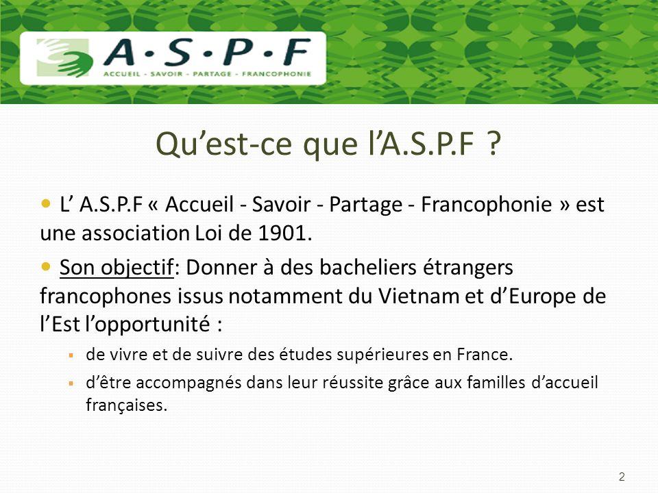 Quest-ce que lA.S.P.F ? L A.S.P.F « Accueil - Savoir - Partage - Francophonie » est une association Loi de 1901. Son objectif: Donner à des bacheliers
