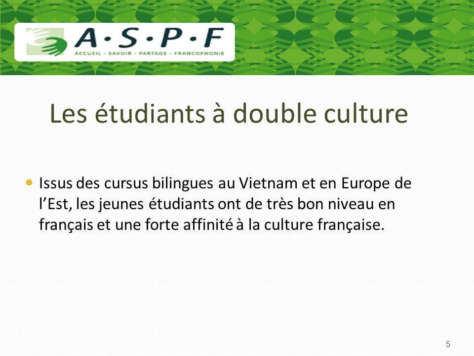 Les étudiants à double culture Issus des cursus bilingues au Vietnam et en Europe de lEst, les jeunes étudiants ont de très bon niveau en français et