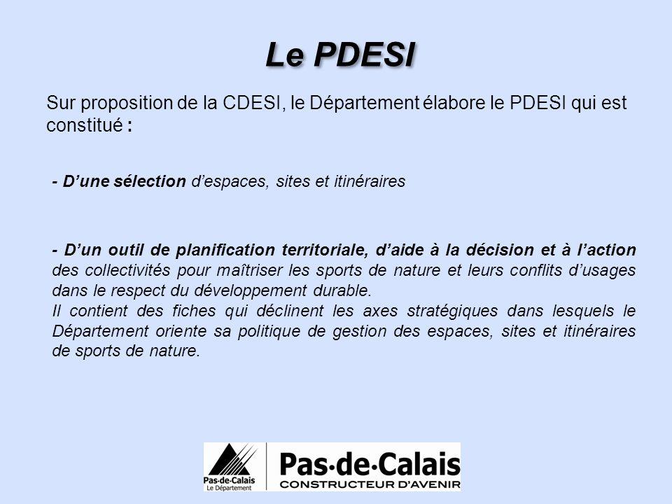 Le PDESI Sur proposition de la CDESI, le Département élabore le PDESI qui est constitué : - Dun outil de planification territoriale, daide à la décisi