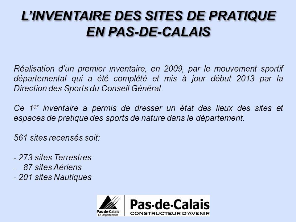 Réalisation dun premier inventaire, en 2009, par le mouvement sportif départemental qui a été complété et mis à jour début 2013 par la Direction des S
