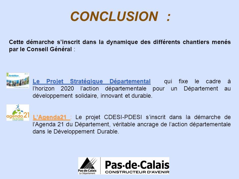 CONCLUSION : Cette démarche sinscrit dans la dynamique des différents chantiers menés par le Conseil Général : Le Projet Stratégique Départemental Le