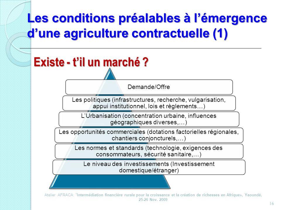 Les conditions préalables à lémergence dune agriculture contractuelle (1) 16 Demande/Offre Les politiques (infrastructures, recherche, vulgarisation,