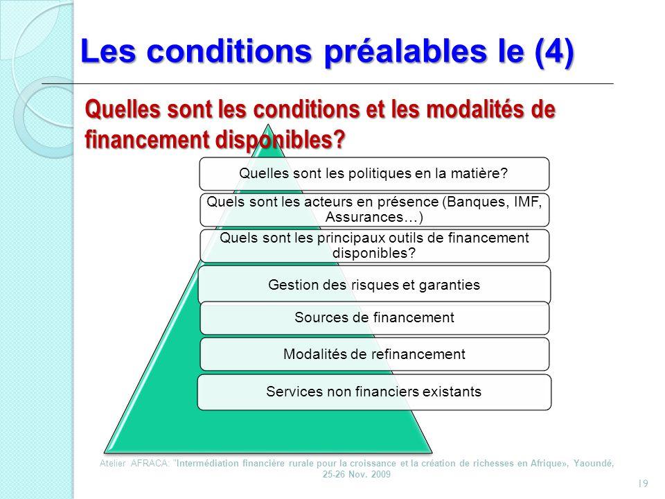 Les conditions préalables le (4) 19 Quelles sont les politiques en la matière? Quels sont les acteurs en présence (Banques, IMF, Assurances…) Quels so