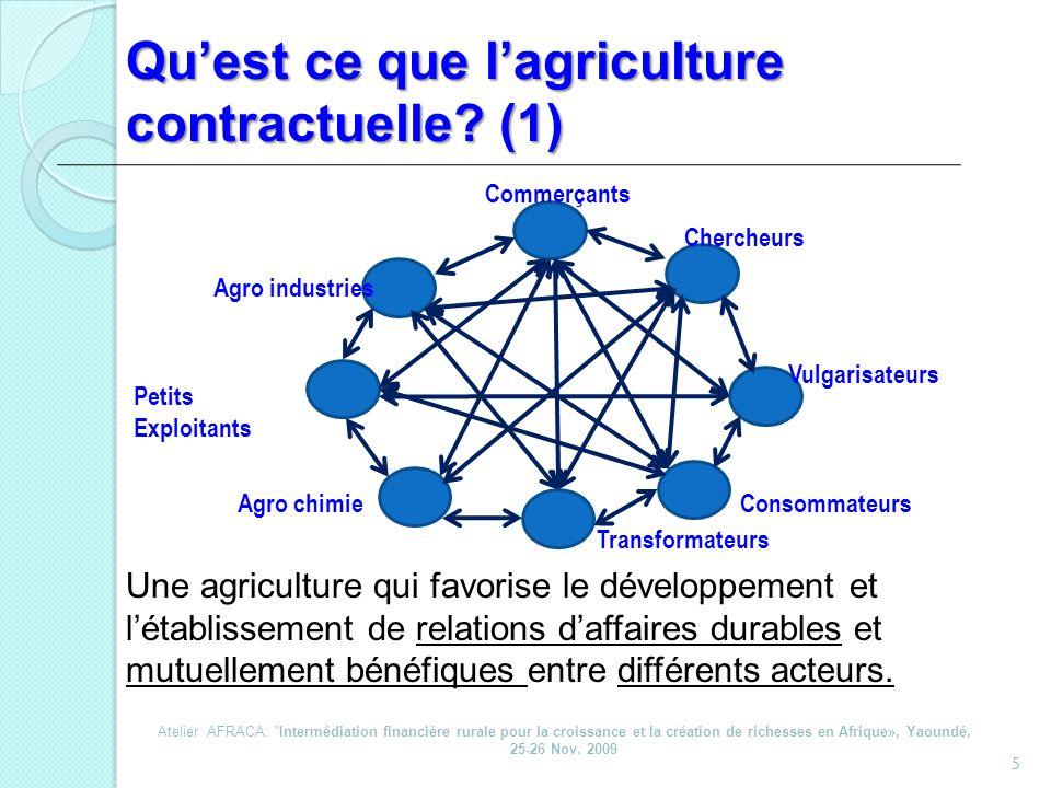 Quest ce que lagriculture contractuelle? (1) 5 Une agriculture qui favorise le développement et létablissement de relations daffaires durables et mutu