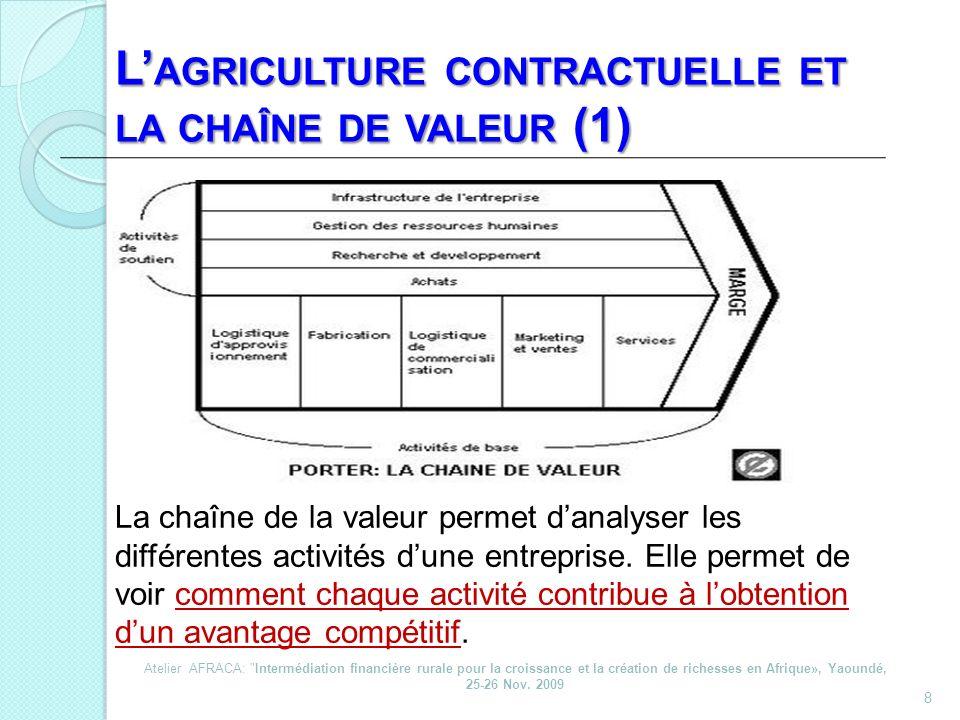 8 L AGRICULTURE CONTRACTUELLE ET LA CHAÎNE DE VALEUR (1) La chaîne de la valeur permet danalyser les différentes activités dune entreprise. Elle perme