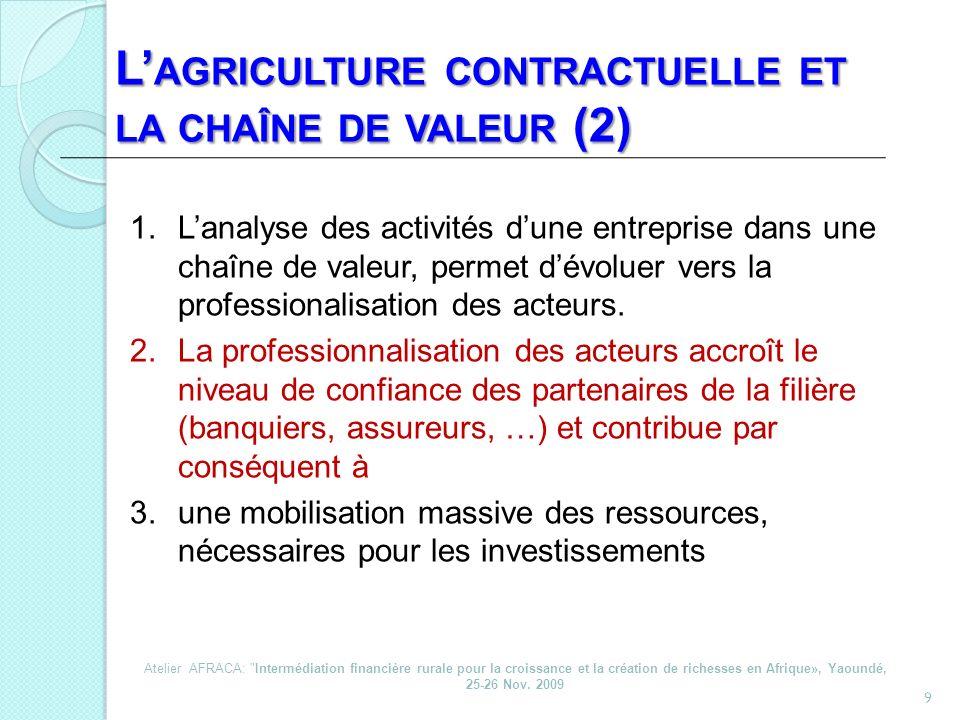 10 L AGRICULTURE CONTRACTUELLE ET LA MOBILISATION DES INVESTISSEMENTS (3) 1.Daméliorer lefficience des facteurs de production (productivité); 2.Dinduire plus de flexibilité dans les opérations (possibilités dadaptation); 3.De promouvoir la standardisation des opérations et des produits; 4.De cibler des niches de marché dexcellence (compatibilité croissante).