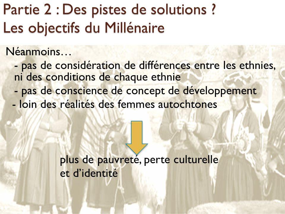 Partie 2 : Des pistes de solutions ? Les objectifs du Millénaire Néanmoins… - pas de considération de différences entre les ethnies, ni des conditions