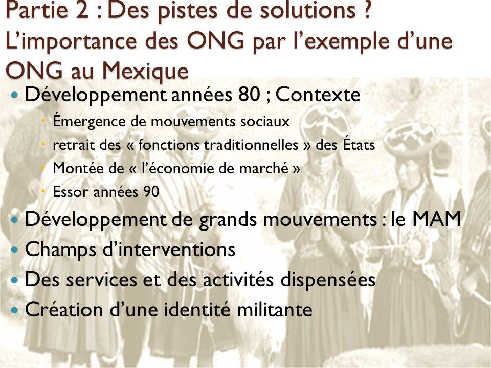 Partie 2 : Des pistes de solutions ? Limportance des ONG par lexemple dune ONG au Mexique Développement années 80 ; Contexte Émergence de mouvements s