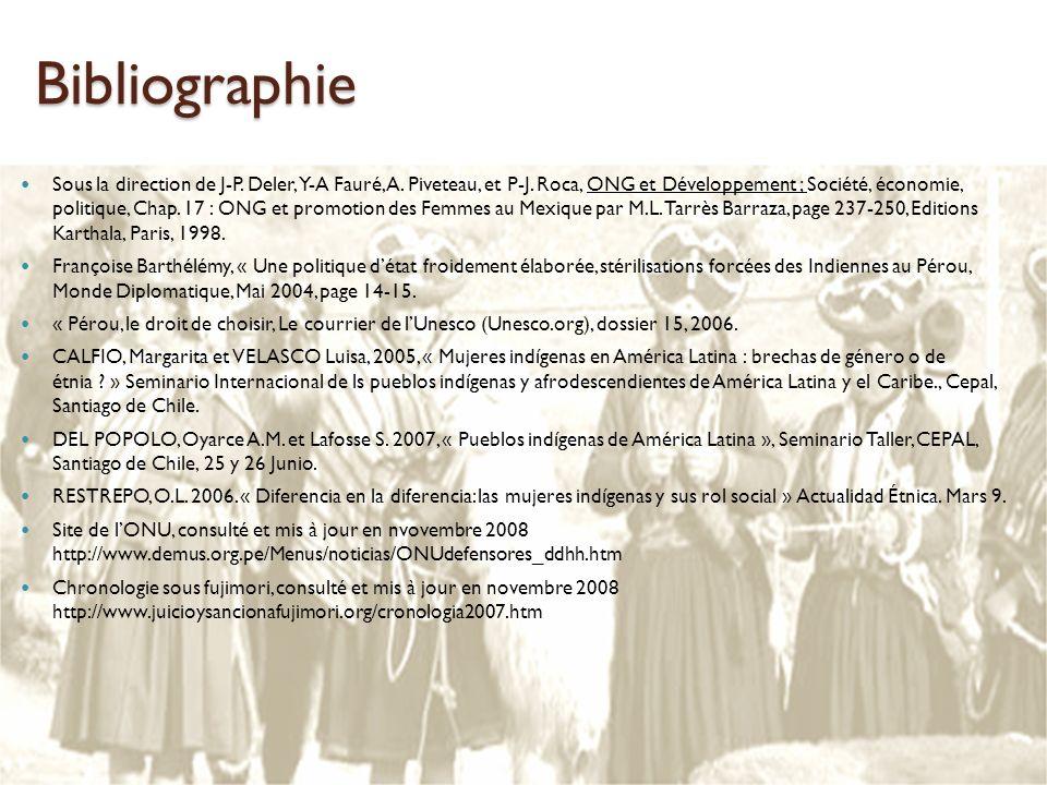 Bibliographie Sous la direction de J-P. Deler, Y-A Fauré, A. Piveteau, et P-J. Roca, ONG et Développement ; Société, économie, politique, Chap. 17 : O