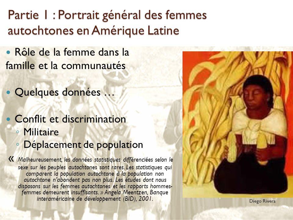 Partie 1 : Portrait général des femmes autochtones en Amérique Latine Rôle de la femme dans la famille et la communautés Quelques données … Conflit et