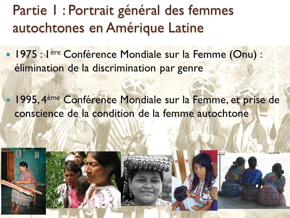 Partie 1 : Portrait général des femmes autochtones en Amérique Latine 1975 : 1 ère Conférence Mondiale sur la Femme (Onu) : élimination de la discrimi