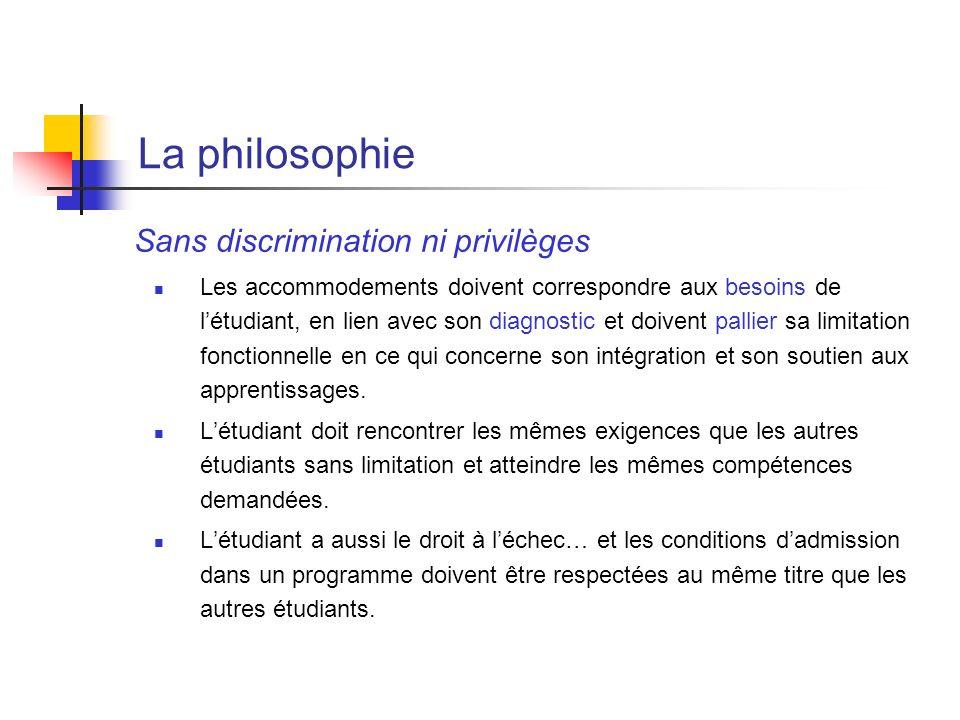 La philosophie Sans discrimination ni privilèges Les accommodements doivent correspondre aux besoins de létudiant, en lien avec son diagnostic et doiv