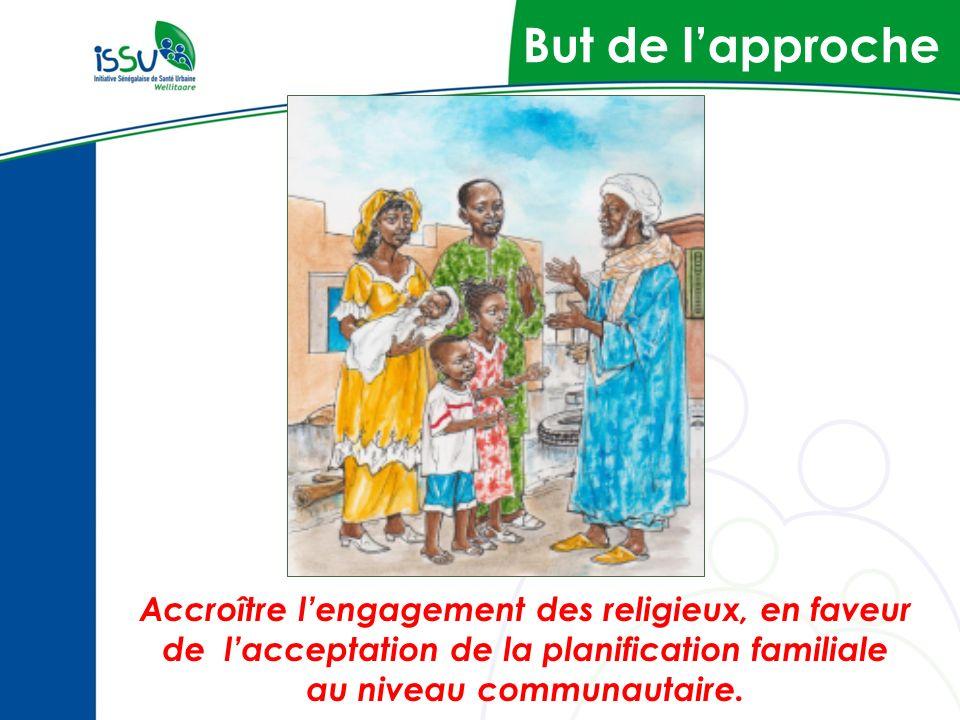 But de lapproche Accroître lengagement des religieux, en faveur de lacceptation de la planification familiale au niveau communautaire.