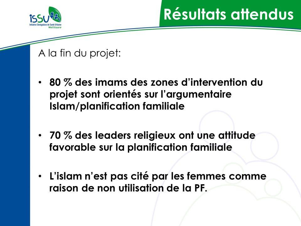 Résultats attendus A la fin du projet: 80 % des imams des zones dintervention du projet sont orientés sur largumentaire Islam/planification familiale