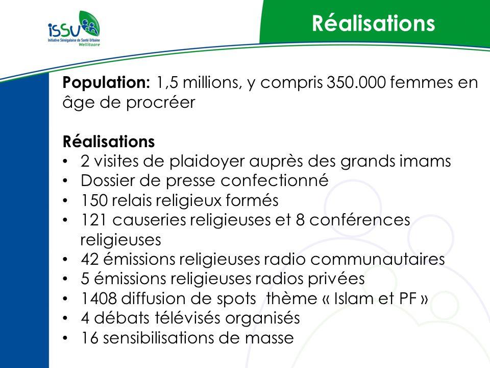 Réalisations Population: 1,5 millions, y compris 350.000 femmes en âge de procréer Réalisations 2 visites de plaidoyer auprès des grands imams Dossier